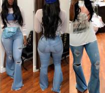 Stylish High Waist Damaged Bell Jeans