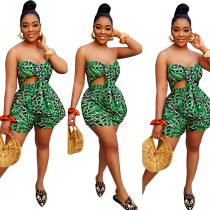 Sexy Strapless Print Green Rompers