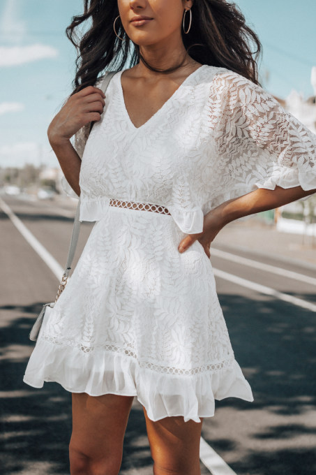 White Lace V-Neck Skater Dress