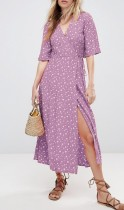 Short Sleeves Floral Wrap Maxi Dress