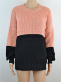 O-Neck Contrast Sweater with Pop Sleeves