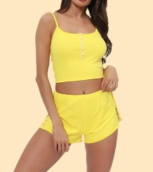 Yellow Bedroom Straps Vest and Shorts