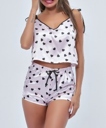 Heart Print Sleeping Vest and Shorts