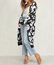 Cappotto maglione lungo bianco e nero