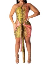 Snake Skin One Shoulder Club Kleid