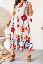 Plus Size Print Sleeveless Pocket Dress