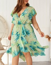 Plus Size Print Ruffles Wrap Dress