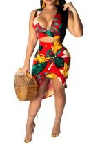 Print Sexy Plung Crop Top and Irregular Skirt