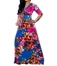 Print Halbarm Wickel Maxi-Kleid