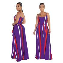 Multi-Color Stripes Strap Langes Kleid mit Gürtel