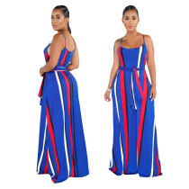 Multi-Color Stripes Strap Long Dress with Belt