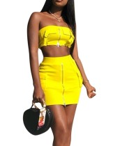 Yellow Zipper Bandeau Top and Mini Skirt