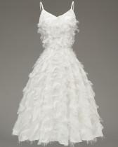 Elegante vestido de cóctel correas de felpa