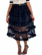 Сексуальная прозрачная длинная юбка в горошек