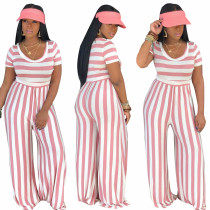 O-Neck Stripped Loose Jumpsuit