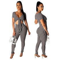 Sexy Tight Fitting Cut Out Stripes Plung Jumpsuit