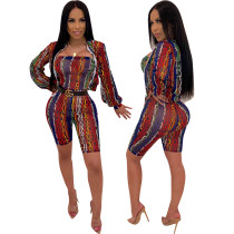 Print strapless rompers en cover-up