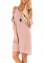 O-Neck Sheer Shirt Dress with Cut Out Sleeves