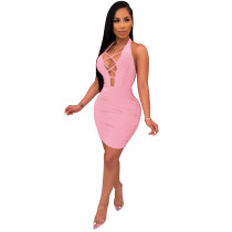 Open Back Sexy Lace Up Halter Bodycon Dress