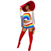Top et short à pampilles en crochet multicolores