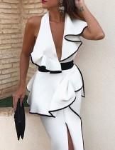 Vestido a media pierna blanco y escote en V de Deep-V