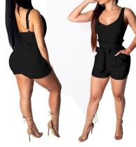 Mamelucos de cintura alta con correas anchas y cinturón