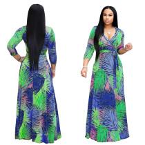 Print Wrap Maxi Dress com Cinto