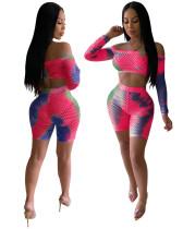 Sexy enges Netz-Crop-Top und Shorts