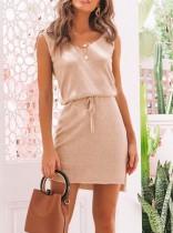 Casual V-Neck Knot Mini Dress