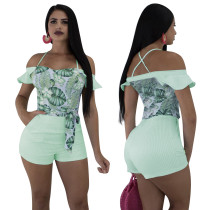 Print Green Halter Bodycon Rompers