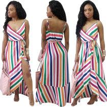 Многоцветное платье в полоску с запахом