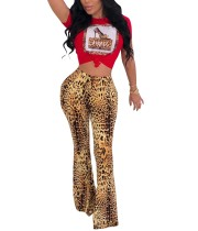 Print Leopard Sexy Shirt and Pants Set
