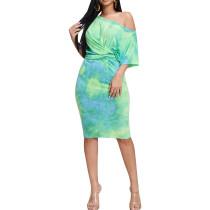 Casual batik torção midi dress
