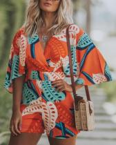 Print V-Neck Wide Sleeves Rompers