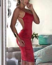 Open Back Sexy Träger Midi-Kleid