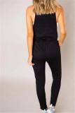 Lässige Träger Drawstring Plain Jumpsuit