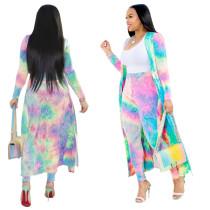 Batik colorido pantalones y abrigo largo