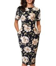 Vestido de bolso de manga curta preta Floral Midi