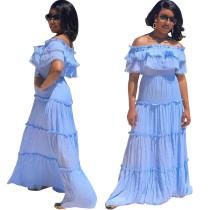 Fora do ombro céu azul babados vestido maxi