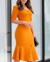 Vestido Sereia Simples Midi