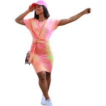 Casual Batik Twist Midi Dress