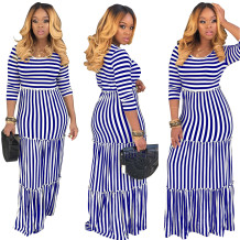 O-Neck Stripes Long Dress