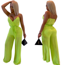 Green Sexy Straps Wrap Jumpsuit with Belt
