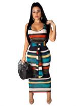 Vestido longo de nó sem mangas de listras coloridas