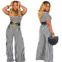 O-Neck Stripes Loose Jumpsuit