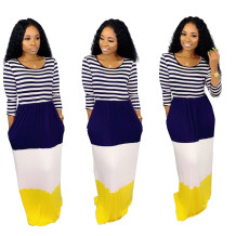 O-Neck Stripes Contrast Long Dress