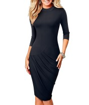 O-Neck Plissee Midi-Kleid