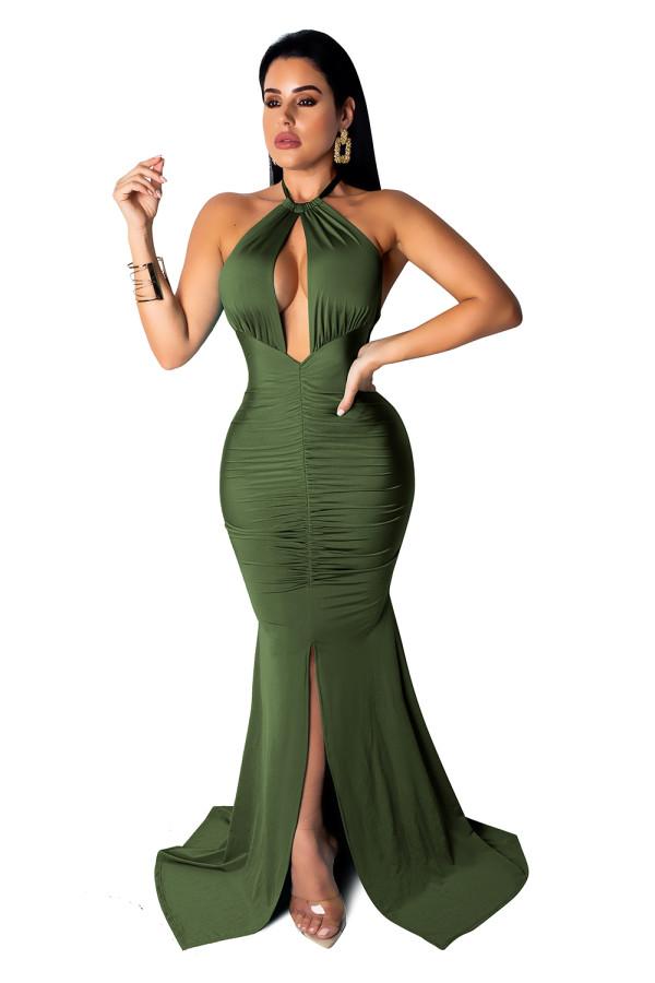 Robe de soirée fendue sirène sexy poitrine ouverte