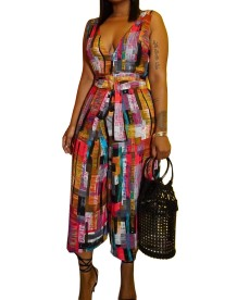 Deep-V Sleeveless Colorful Loose Jumpsuit