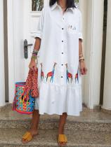 Vestido Blusa Largo Blanco Estampado